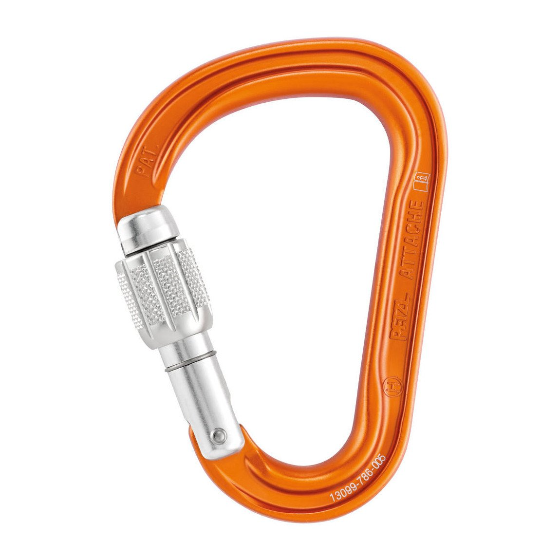 Petzl Attache Screw-Lock HMS Carabiner, in orange colour with silver lock