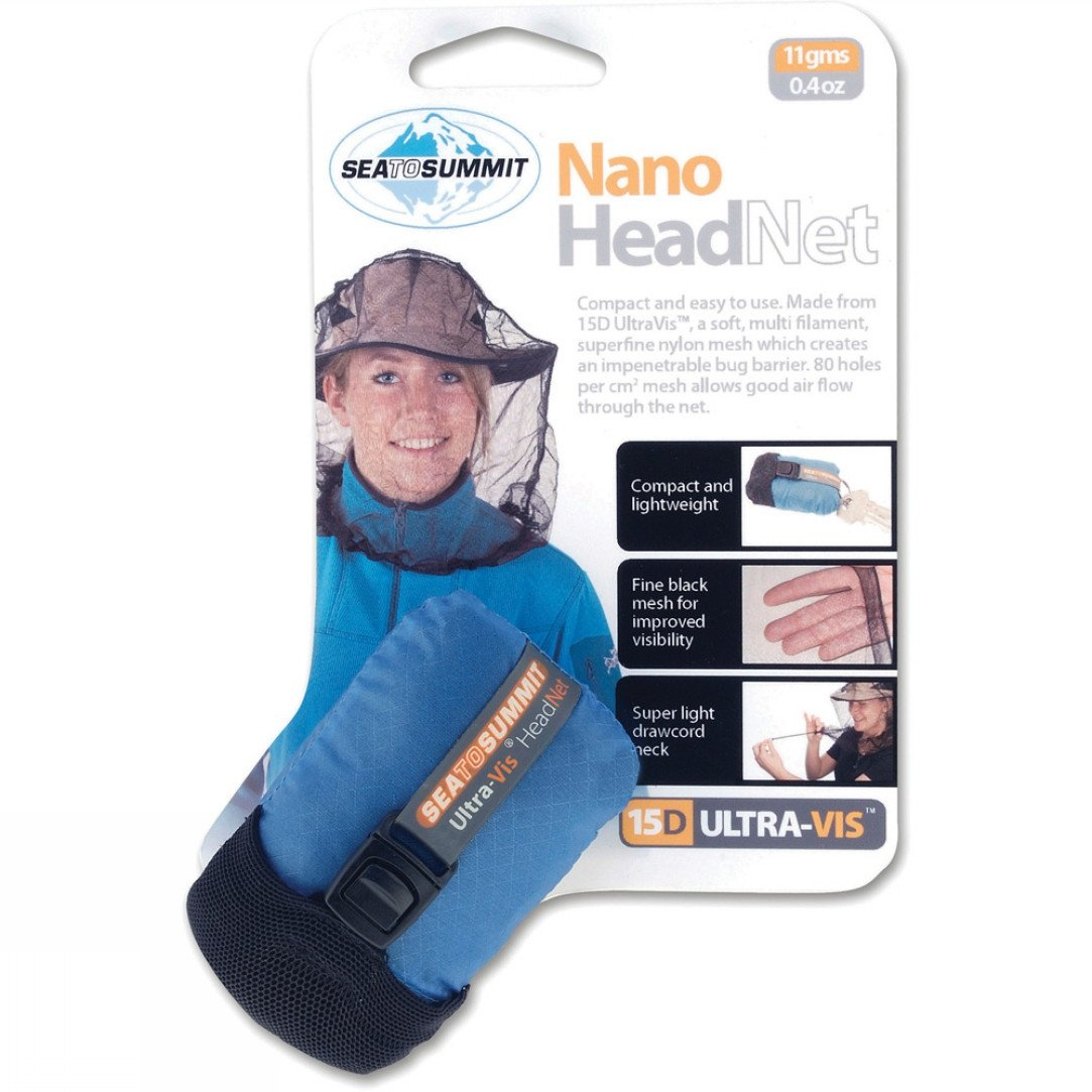 Sea to Summit Nano Mosquito Head Net, shown rolled up with packaging info