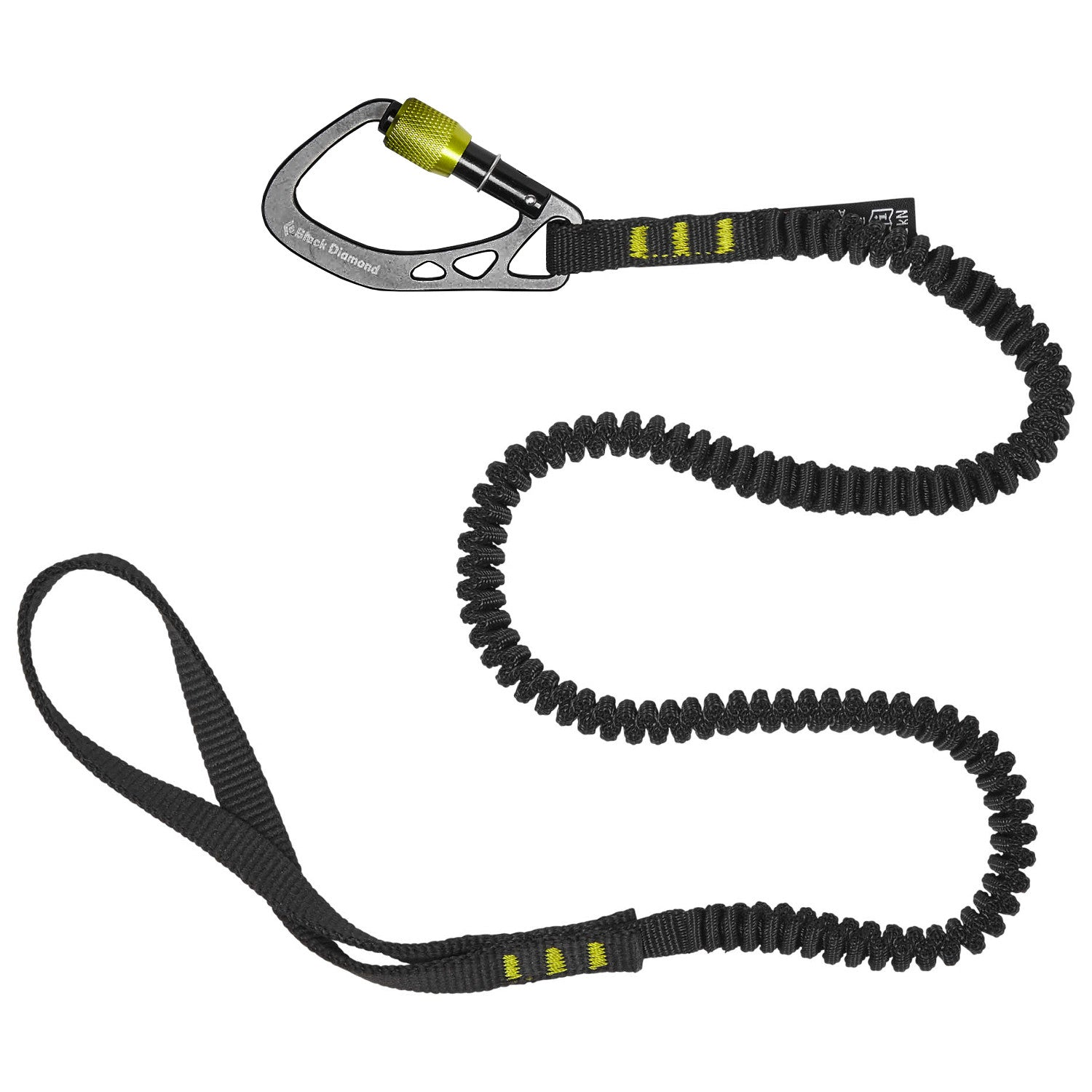 Black Diamond Slinger Leash shown in black with silver Screwgate