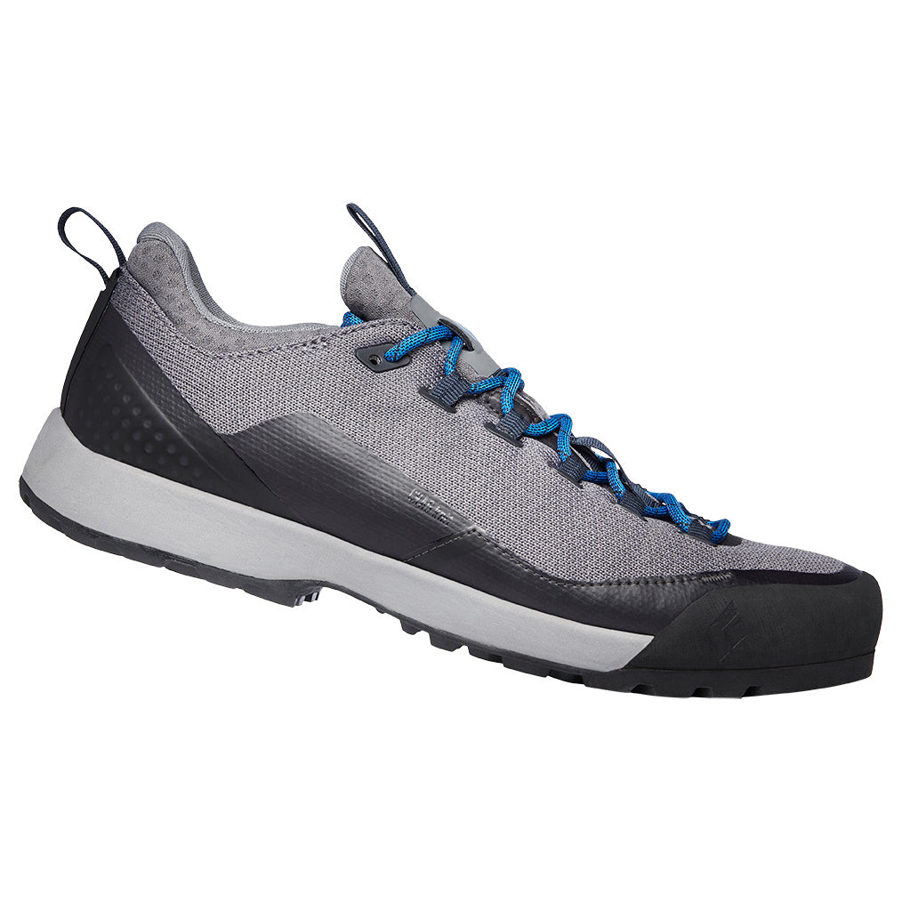 Black Diamond Mission LT Mens Approach Shoe in Nickel grey with blue laces side on