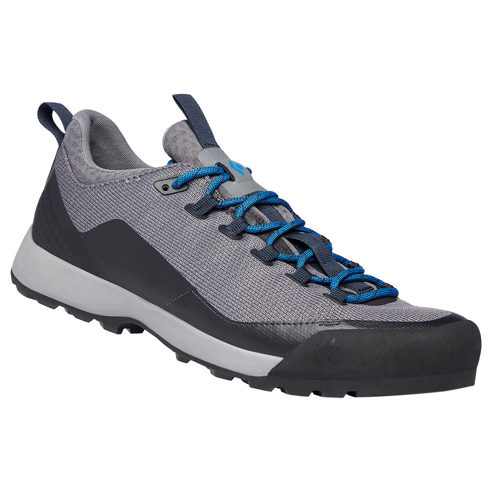 Black Diamond Mission LT Mens Approach Shoe in Nickel grey with blue laces