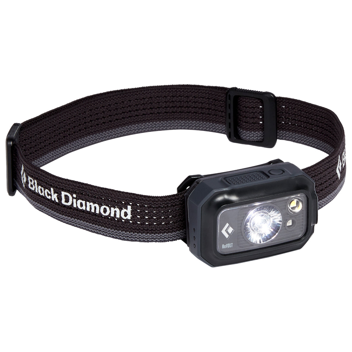 Black Diamond Revolt 350 Headlamp, front/side view in graphite colour