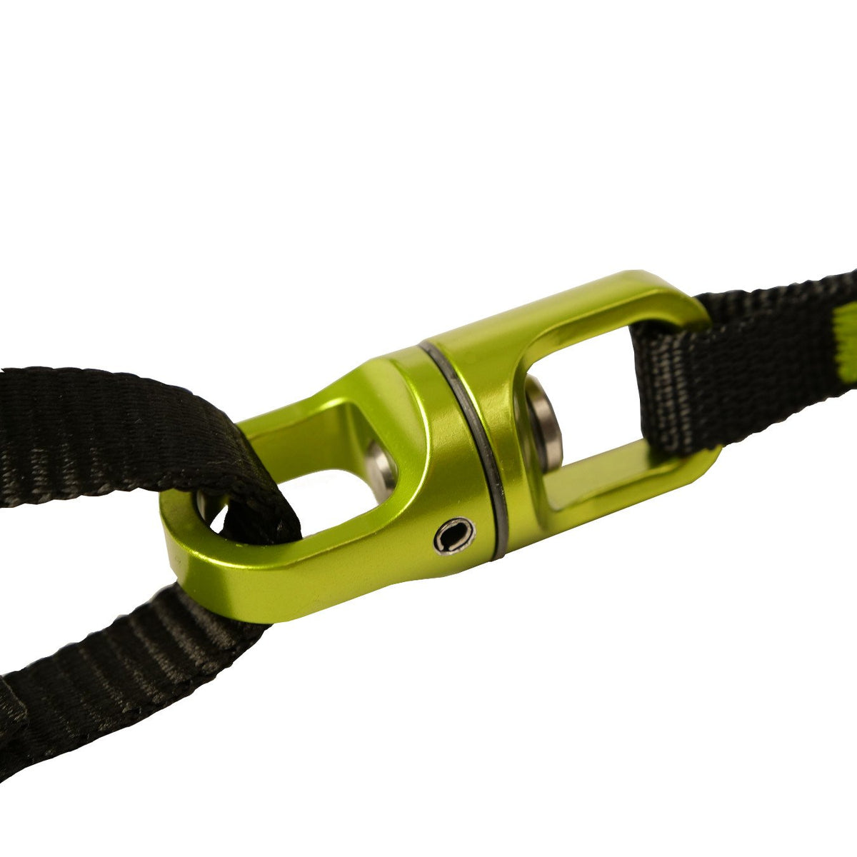Close up view of the Black Diamond Spinner Leash swivelling mechanism in Green