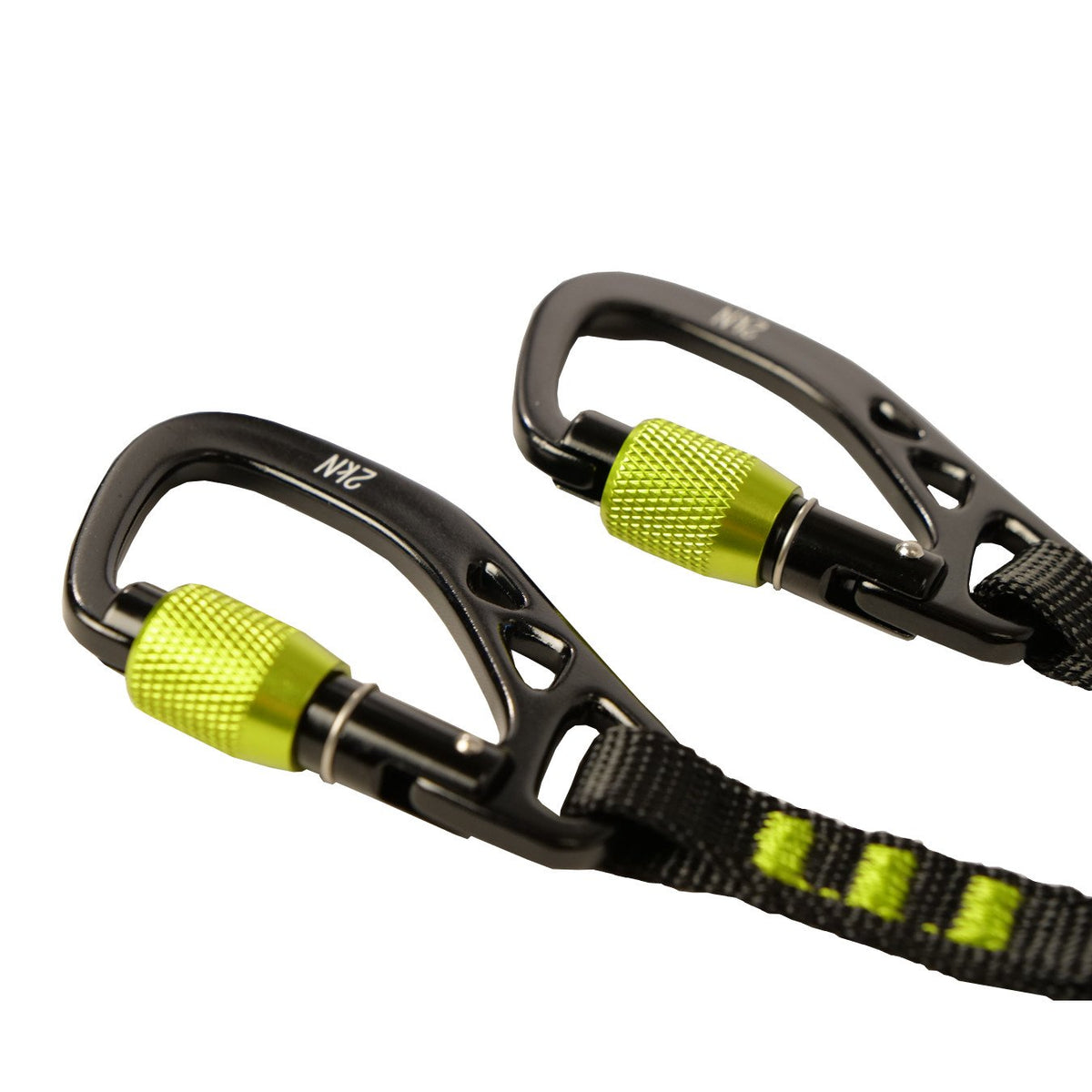Close Up view of the Black Diamond Spinner Leash locking carabiners in Green and Black