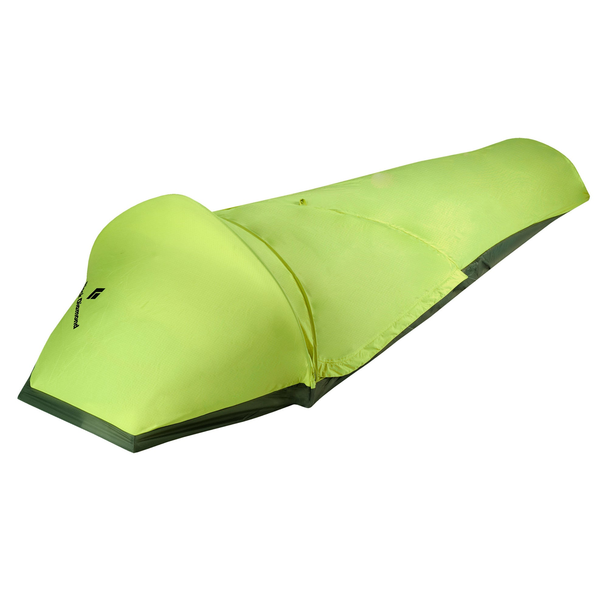 Black Diamond Spotlight Bivy, front/side view showing bivy erect