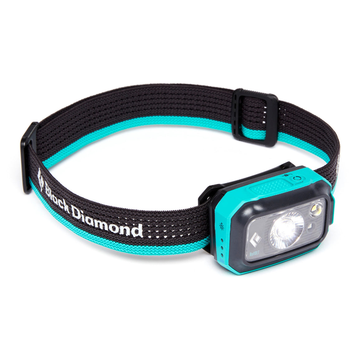 Black Diamond Revolt 350 Headlamp, front/side view in aqua blue colour