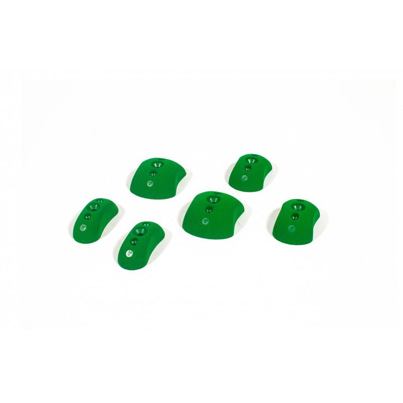 Bleaustone Training Range Low Profile Flat 0' Pinch climbing holds, showing 6 pieces in green colour