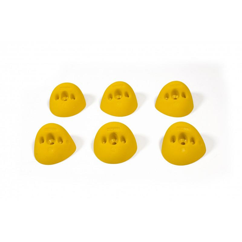 Bleaustone Training Range 45deg Warm Up Jug climbing holds, showing 6 in yellow colour