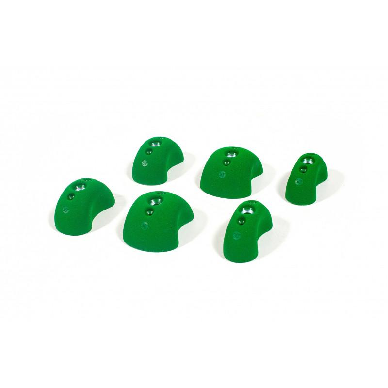 Bleaustone Training Range 30deg HP Positive Pinch climbing holds, 6 shown in green colour