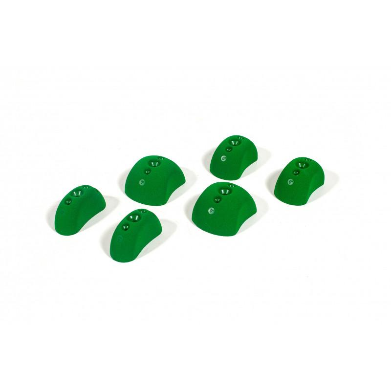 Bleaustone Training Range High Profile Flat 0' Pinch climbing holds, showing 6 in green colour