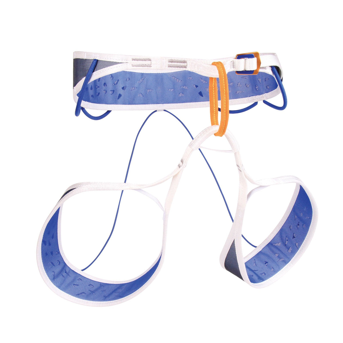 Blue Ice Addax Harness, front/side view in blue/white and orange colours