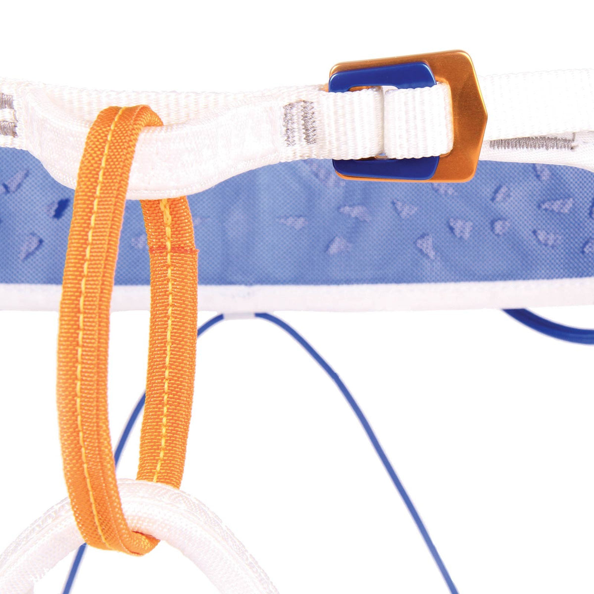 Blue Ice Addax Harness, close up of the orange coloured belay loop