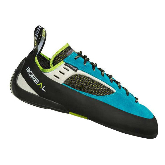 Boreal Joker Lace Womens climbing shoe, side profile, in blue and black colours