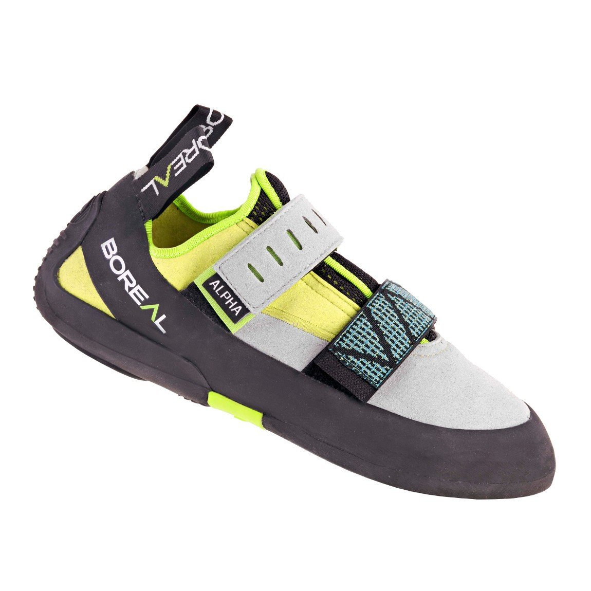 Boreal Alpha VC climbing shoe, side view in black, grey and yellow