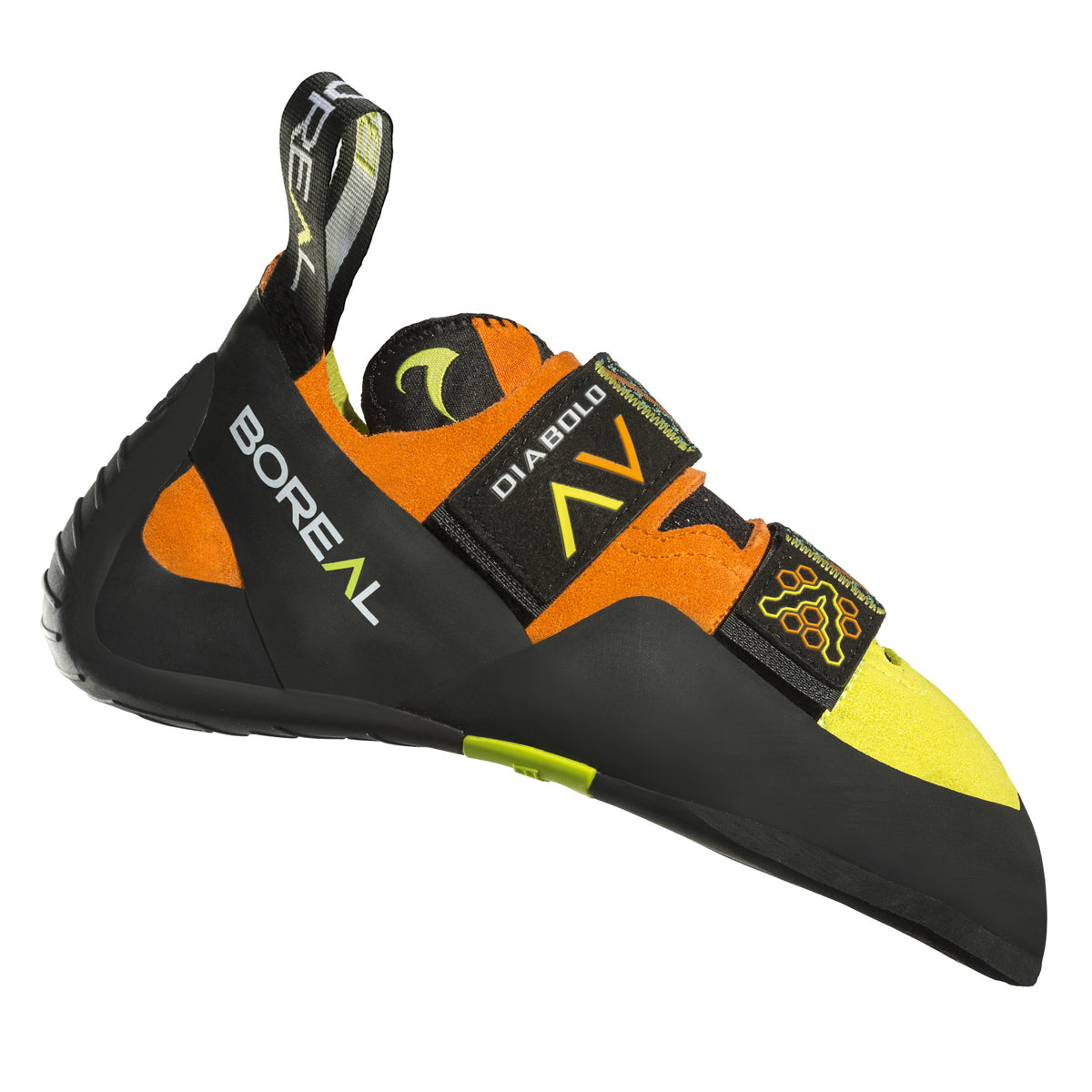 Boreal Diabolo VC climbing shoe, side view, in orange, yellow and black colours