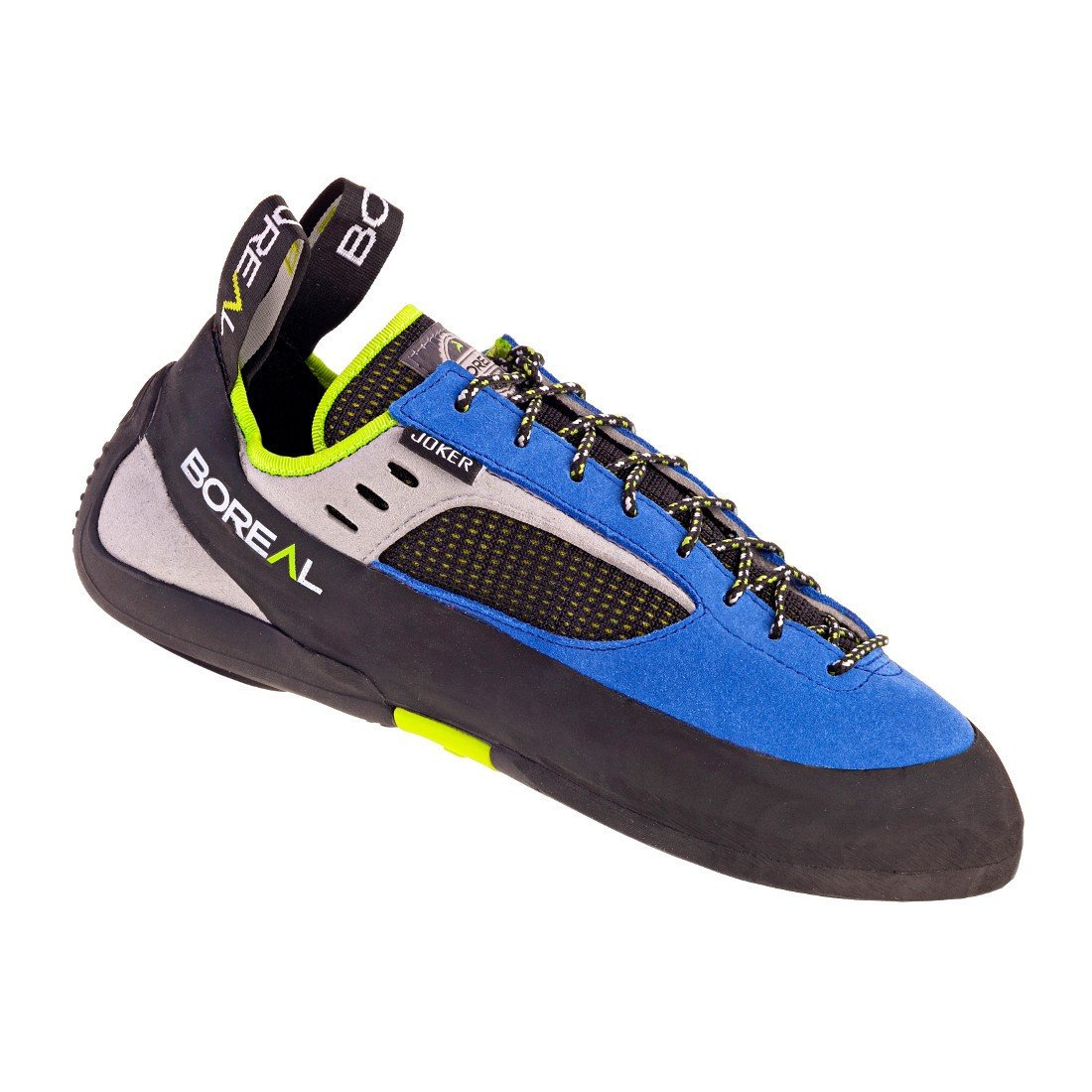 Boreal Joker Lace climbing shoe black, in blue, grey and black