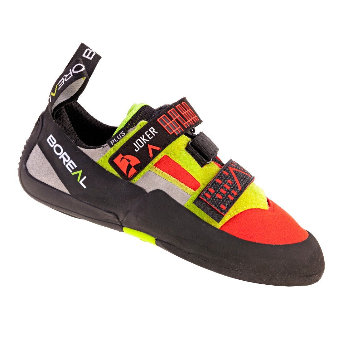Boreal Joker Plus climbing shoe in black, red and yellow colours