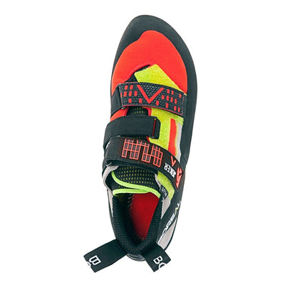 Boreal Joker Plus climbing shoe, view from above showing velcro strap detail