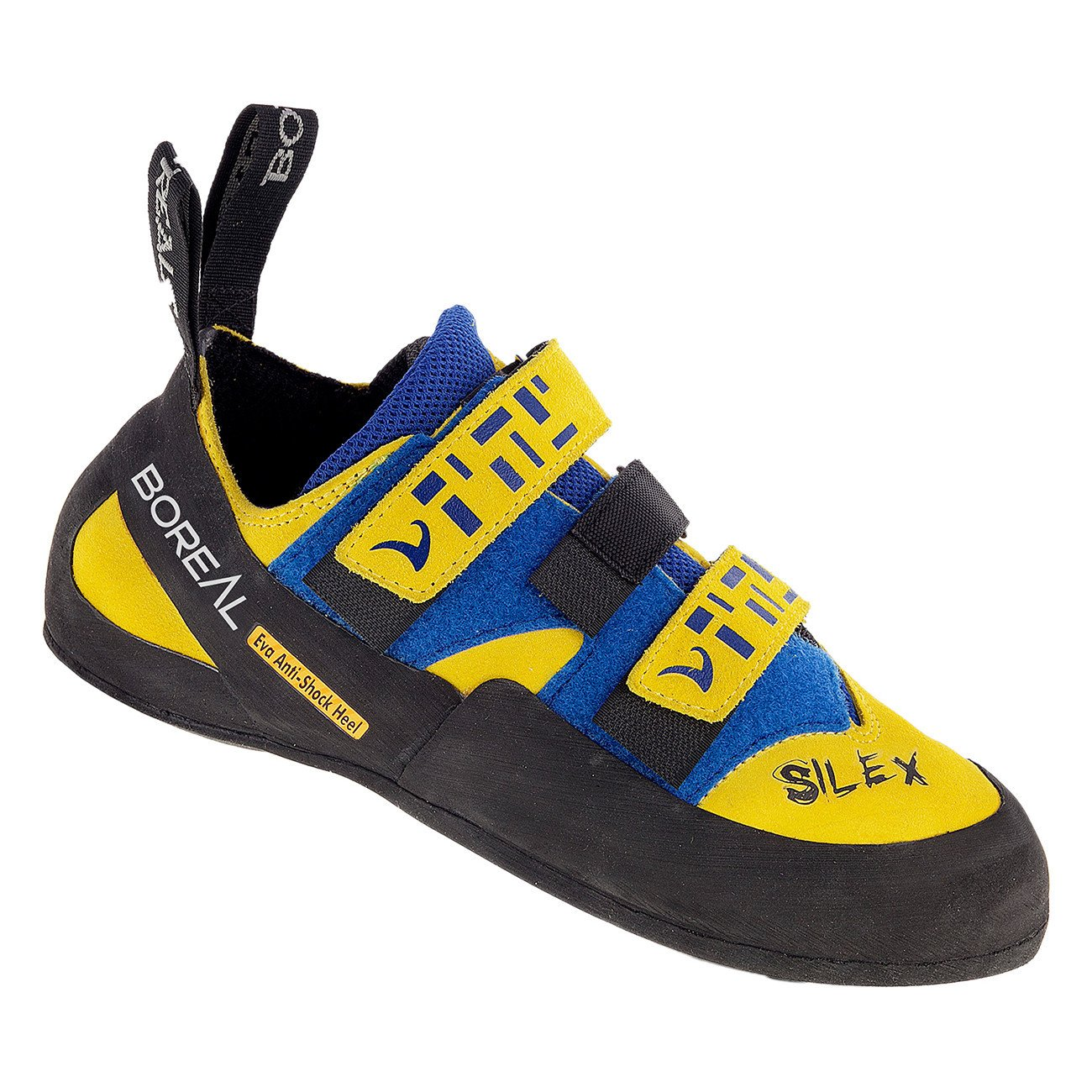 Boreal Silex Velcro climbing shoe, in black, blue and yellow colours