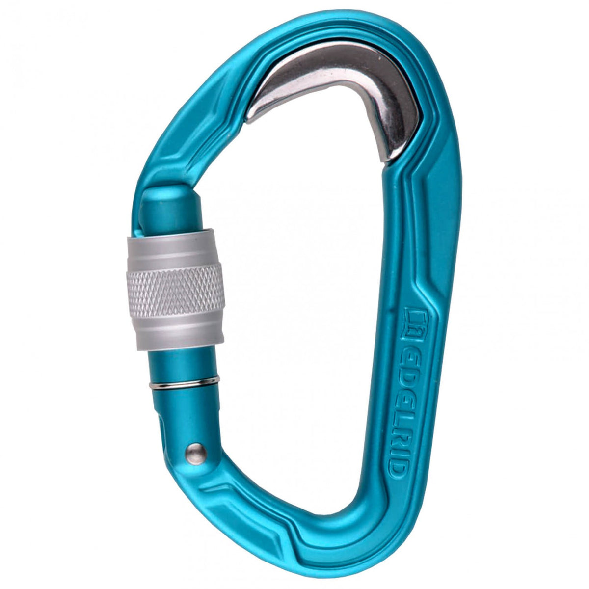 Edelrid Bulletproof Screw carabiner, in blue colour with silver screw