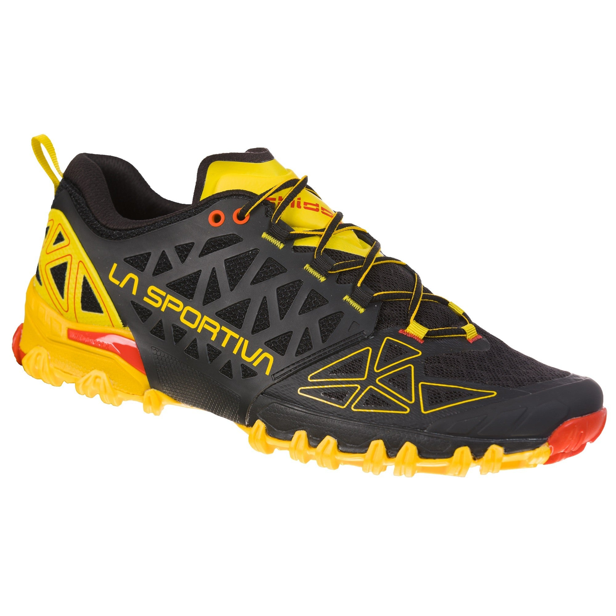 La Sportiva Bushido II trail running shoe, outer side view in Black/Yellow/red colours