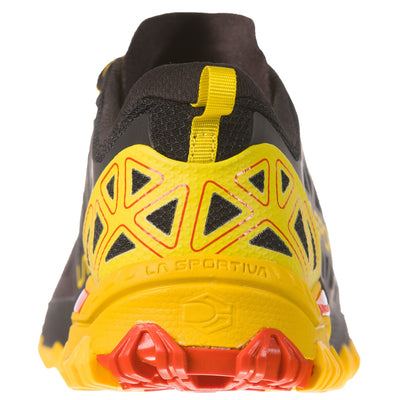 Rear view showing the heel of a La Sportiva Bushido II trail running shoe