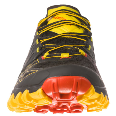 Front view of a La Sportiva Bushido II trail running shoe