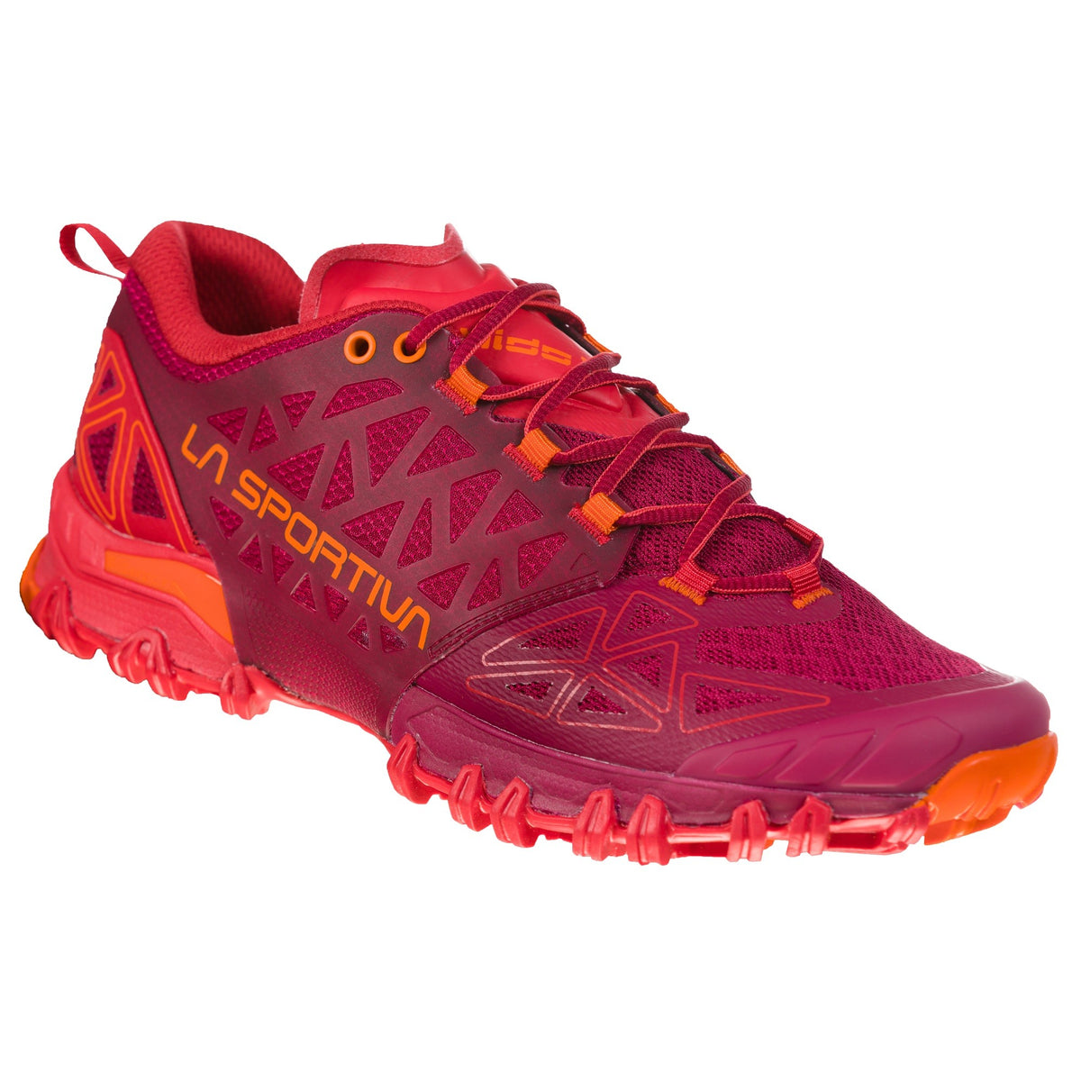 La Sportiva Bushido II Womens trail running shoe, outer side view in Maroon and Red colours