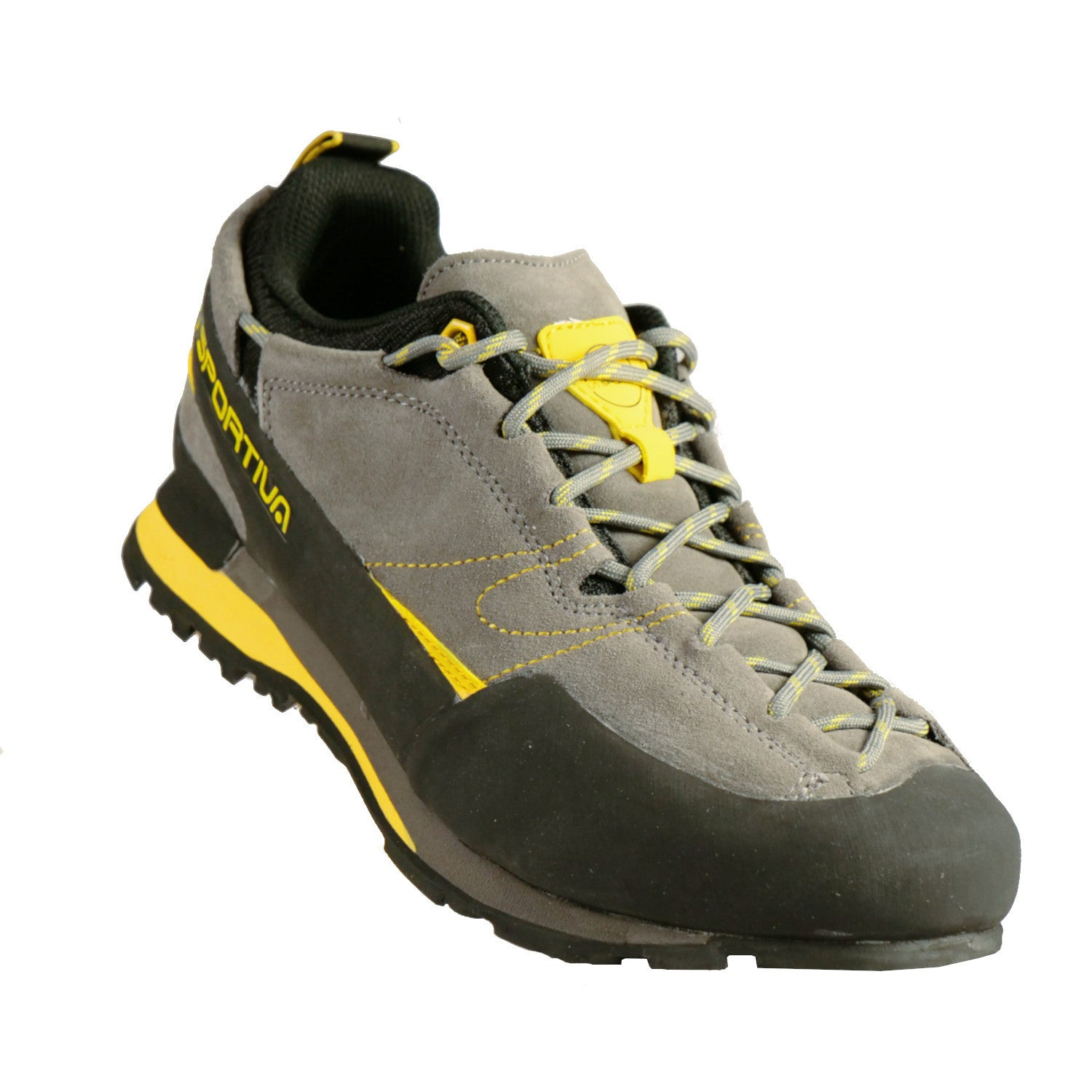 La Sportiva Boulder X approach shoe, front/side view in black, grey and yellow colours