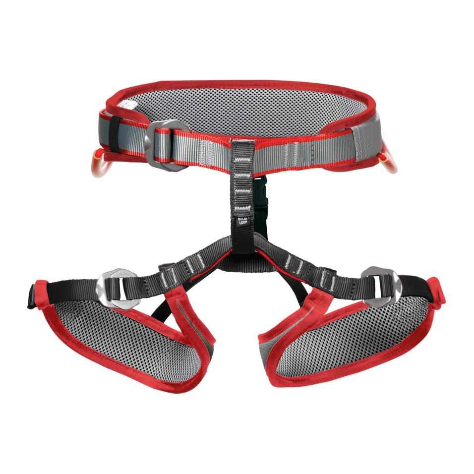 DMM Tomcat Kids Climbing Harness, front view in red, grey and black colours