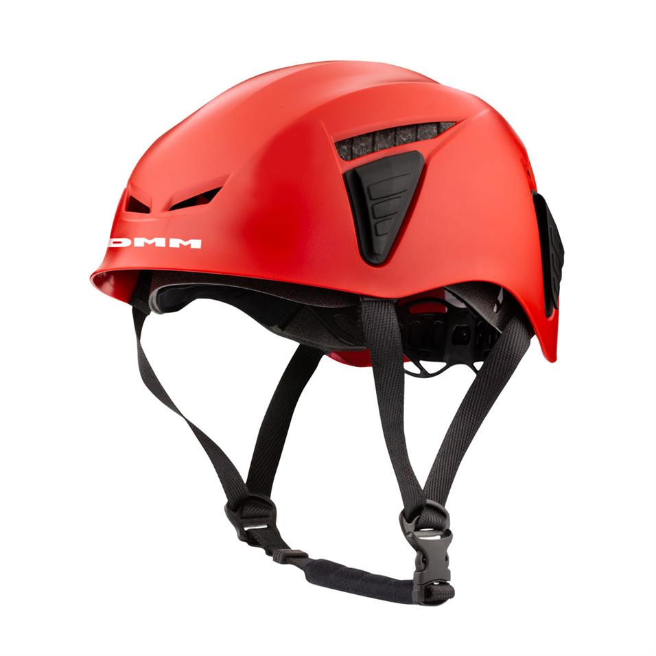 DMM Coron iD climbing helmet, front/side view in Red colour with black straps