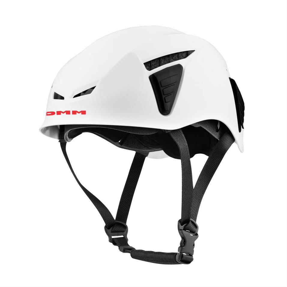DMM Coron iD climbing helmet, front/side view in white colour with black straps
