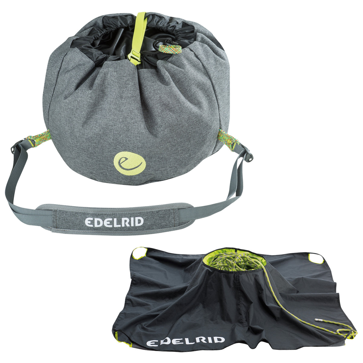 Edelrid Caddy II Rope Bag, shown closed and open in grey colour