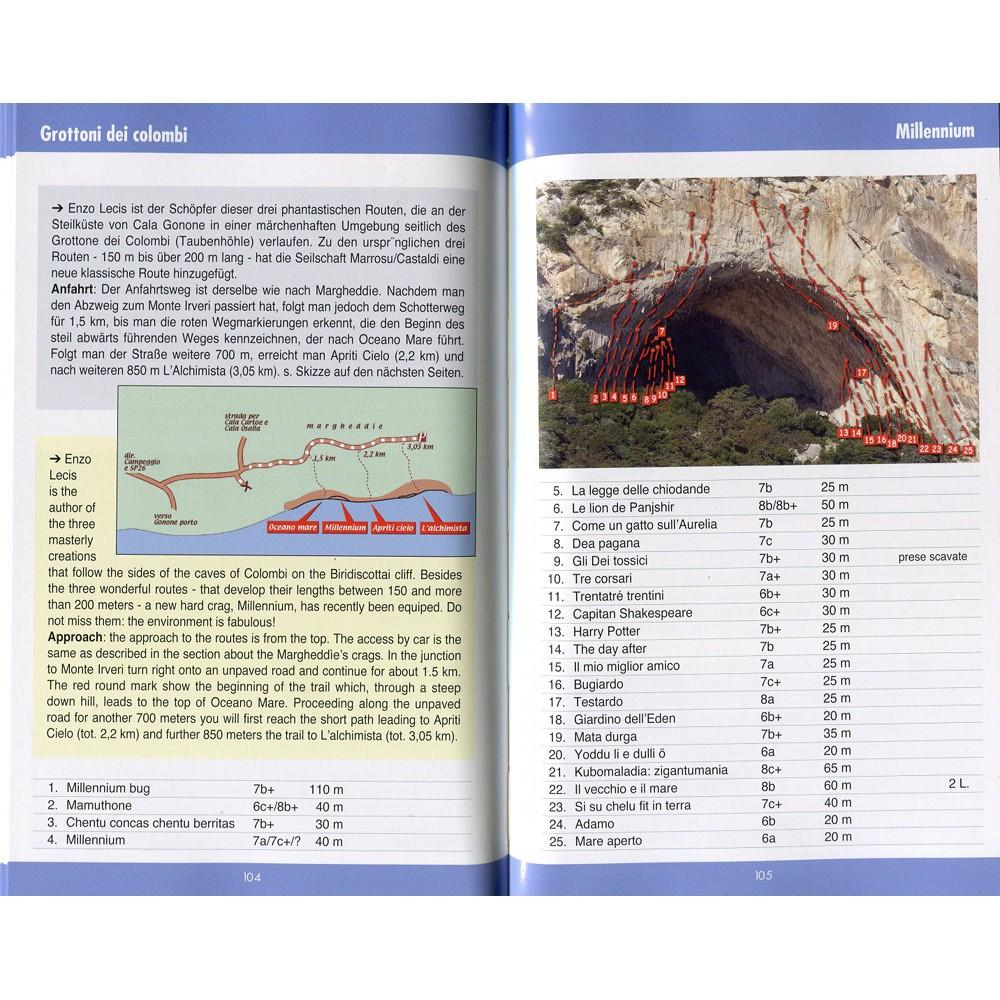 Arrampicare a Cala Gonone climbing guidebook, example inside pages showing maps and index