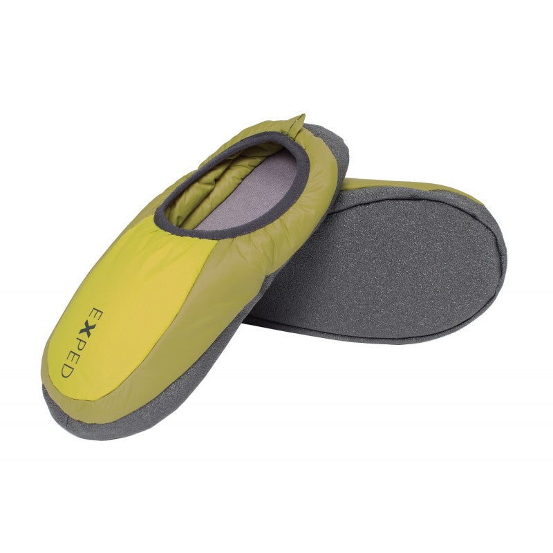 Exped Camp Slippers, inner side view in green colours with grey sole