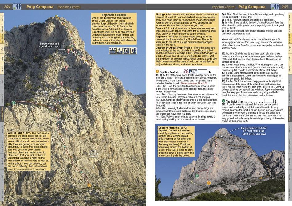 Spain: Costa Blanca guide, example inside pages showing photos and topos