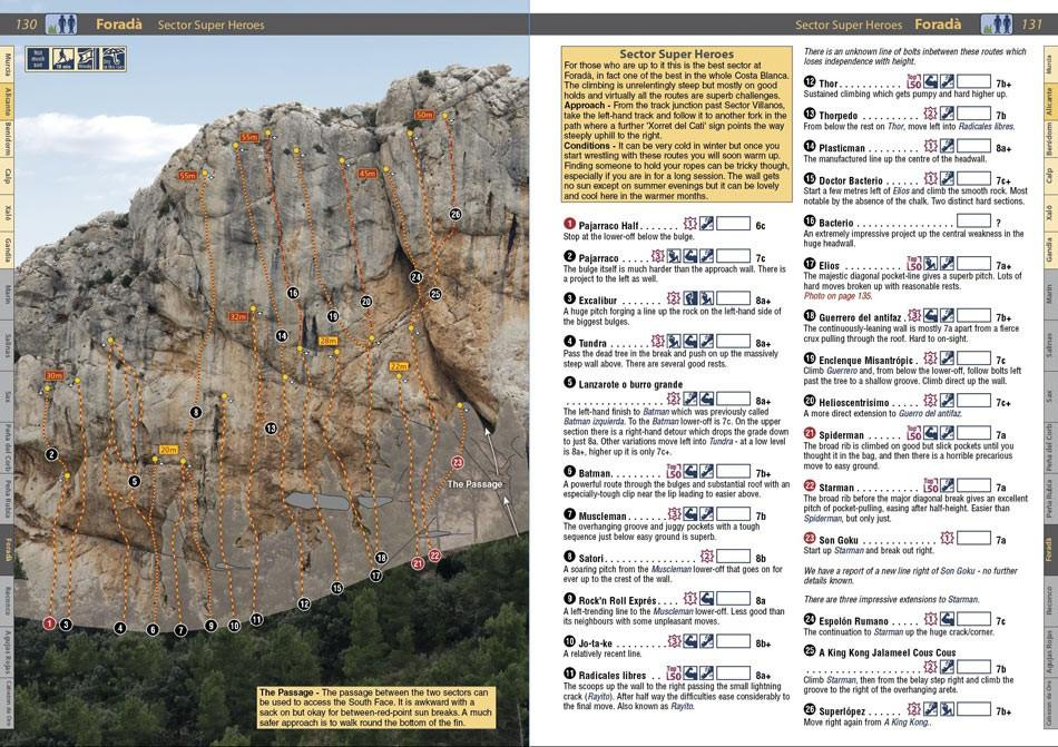 Spain: Costa Blanca guide, example inside pages showing photo-topos and route descriptions