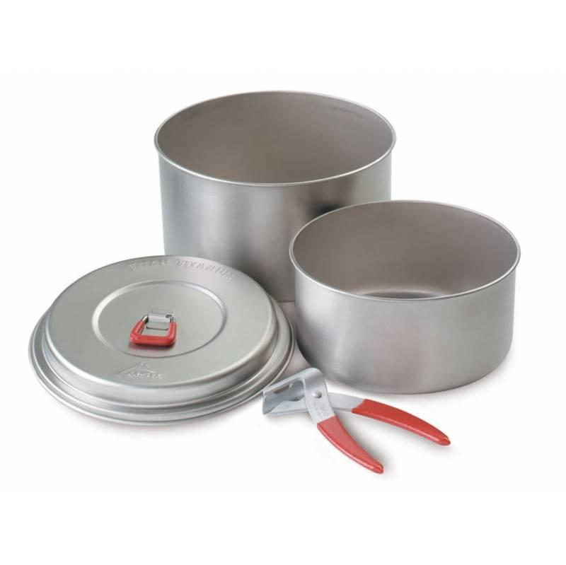 MSR Titan 2 Pot camping cookware Set, showing the pans, the lid and the handle