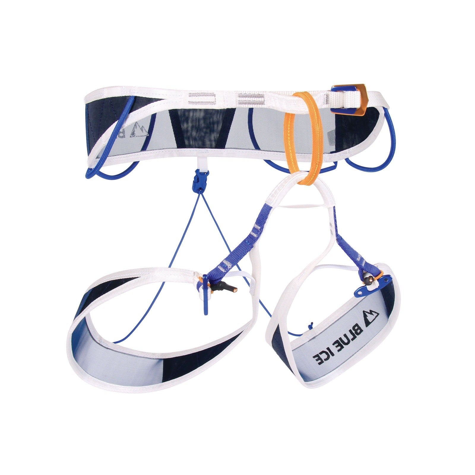 Blue Ice Choucas Pro Harness, front/side view in Blue, Orange and White colours
