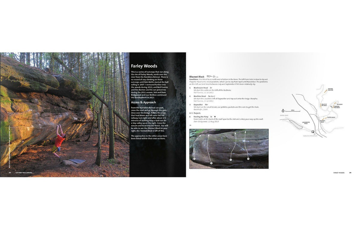 Churnet Bouldering guide, inside page examples showing photos and maps