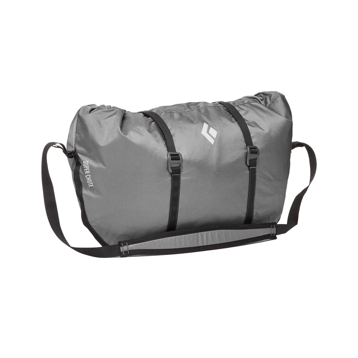 Black Diamond Super Chute climbing rope bag, shown closed in nickel colour