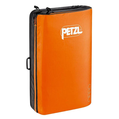 Petzl Cirro bouldering crash pad, shown closed and stood up in orange colour