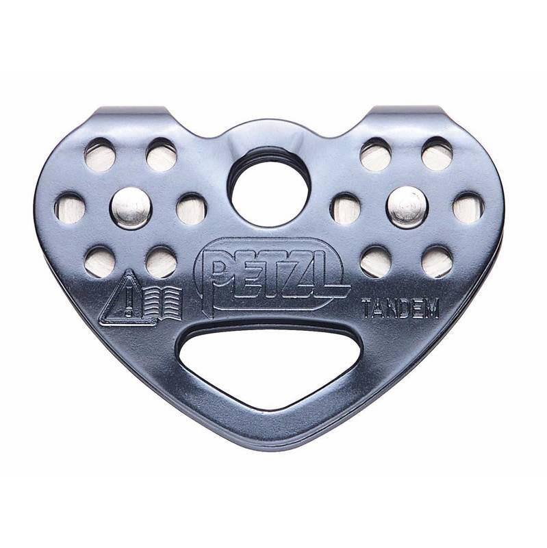 Petzl Tandem Speed Pulley, front view in silver colour