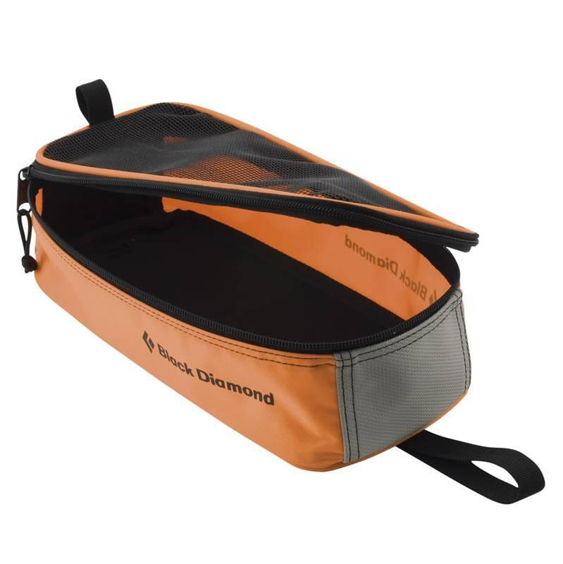 Black Diamond Crampon Bag, in black, front/side view shown open in orange and grey colours