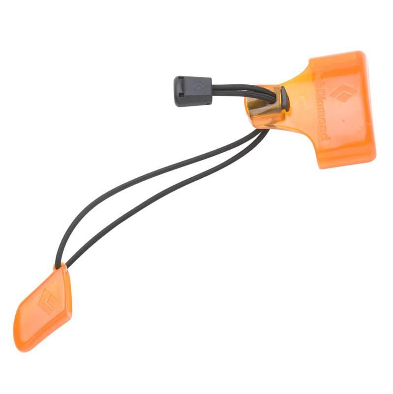 Black Diamond ice Axe Protector with a black string and orange protectors