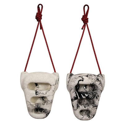 Pair of Metolius Rock Rings, shown hanging from red cord, in white/black colours