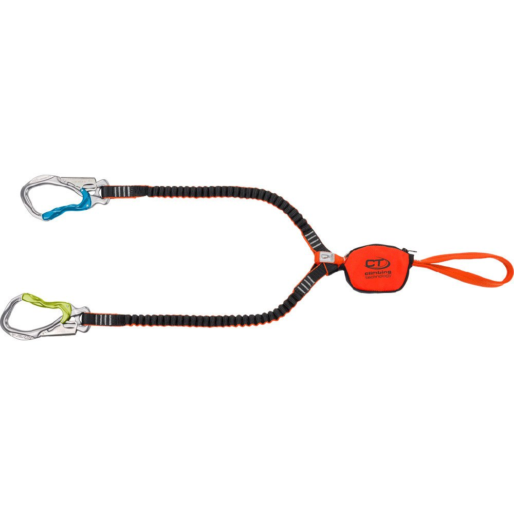 Climbing Technology Hook-It Slider via ferrata set, showing slider, lanyards and carabiners