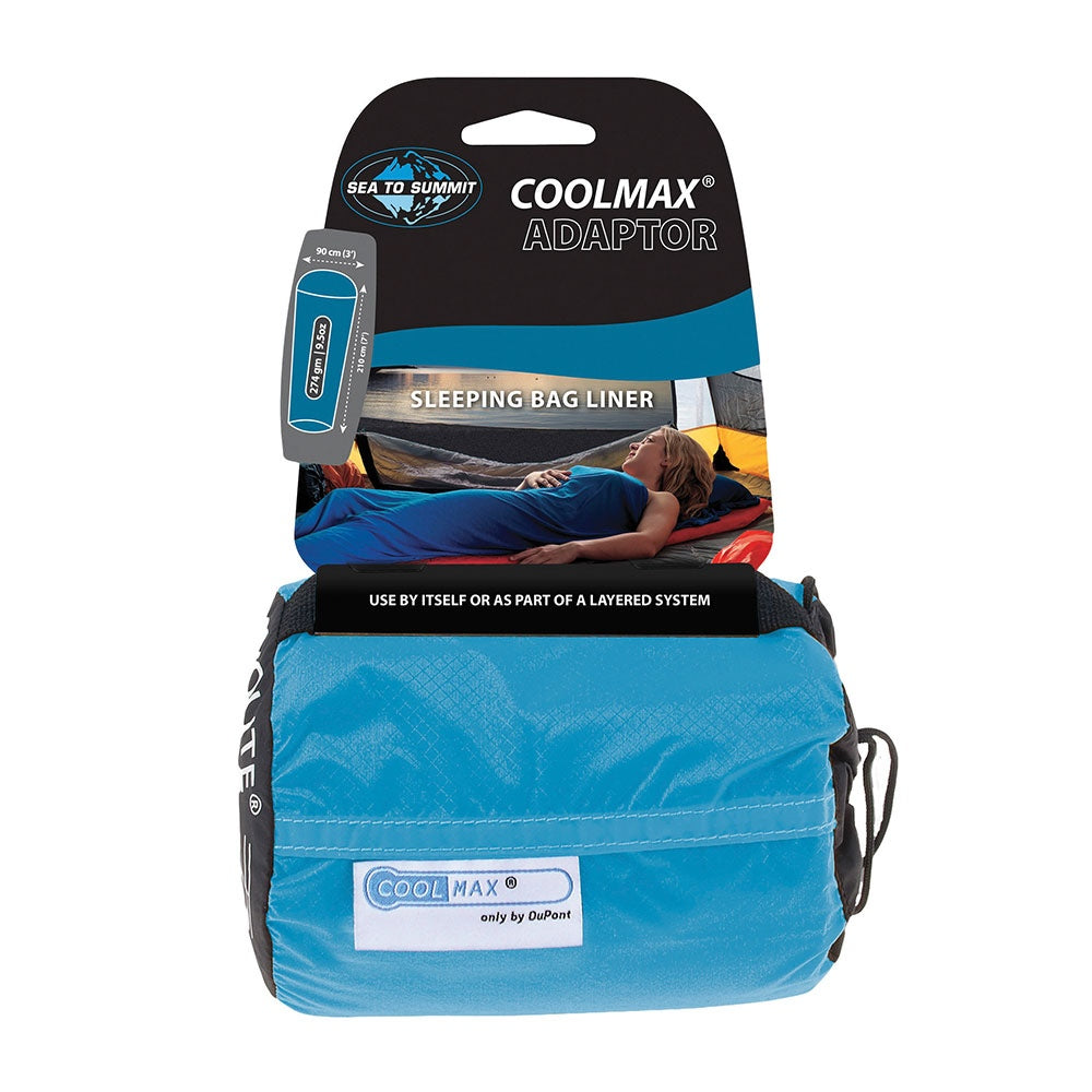 Sea to Summit Coolmax Adaptor Mummy Liner, shown in packaging