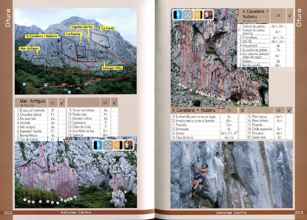 Sport Climbing in Cordillera Cantabrica guide, example pages inside showing photo topos