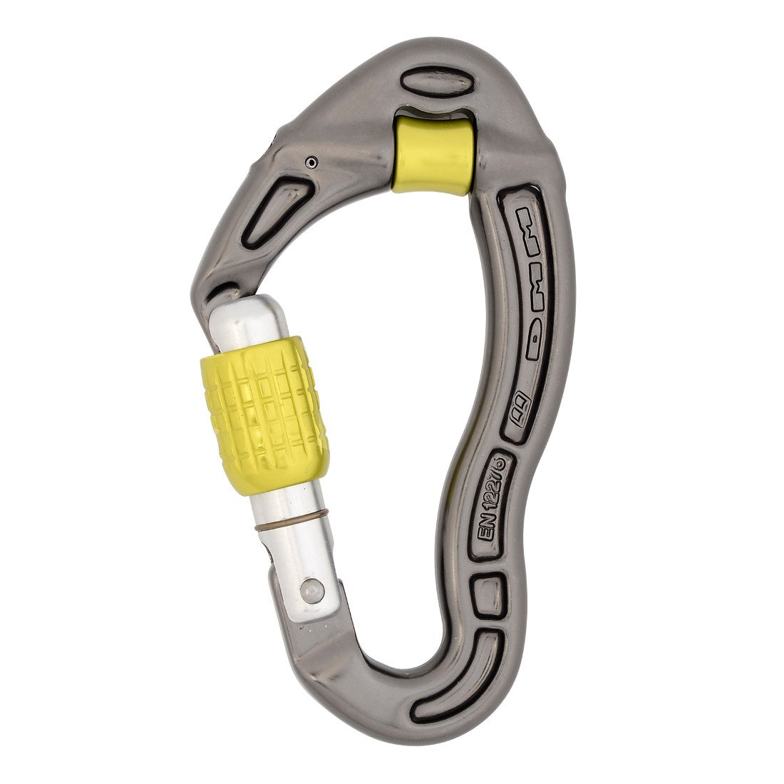 DMM Revolver Screwgate locking climbing carabiner, in gun metal grey with yellow screwlock